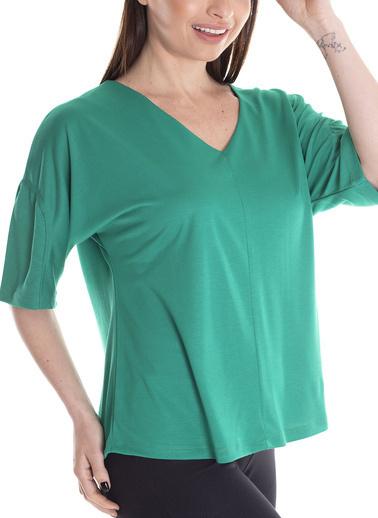 Stamina V Yaka Yarım Kollu Bluz Yeşil